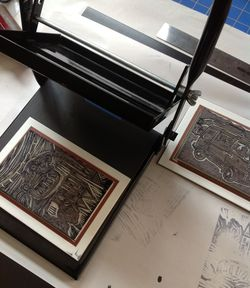 Blockprinting w-hand carved rubber stamps